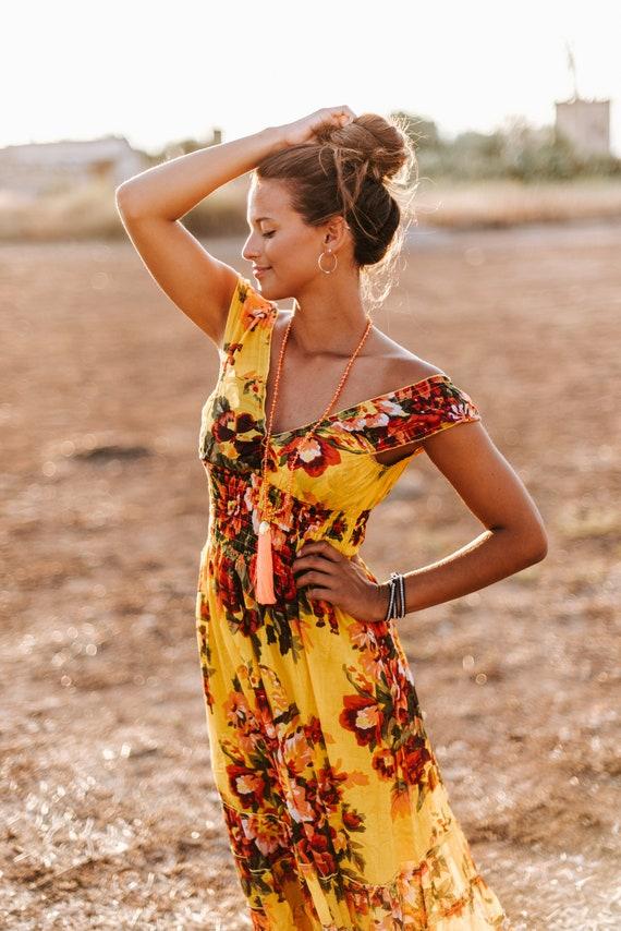 Summer dress grey yellow maxi dress boho dress sleeveless floral dress flower butterflies long silk size S-M .