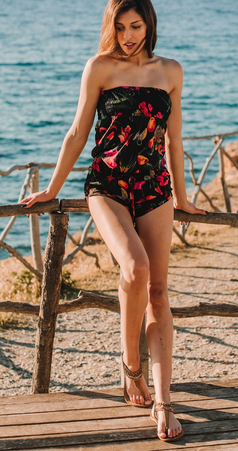 Black Floral Short jump suit  tube top jumsuit boob tube image 0