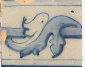 Antique Wall Tile - Portuguese Tile 18th century - Hand Painted Portuguese Tile