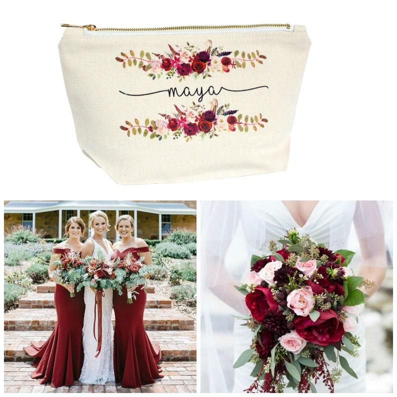 Burgundy Wedding Bridesmaid Makeup Bag Gifts Best Friend Gift image 0