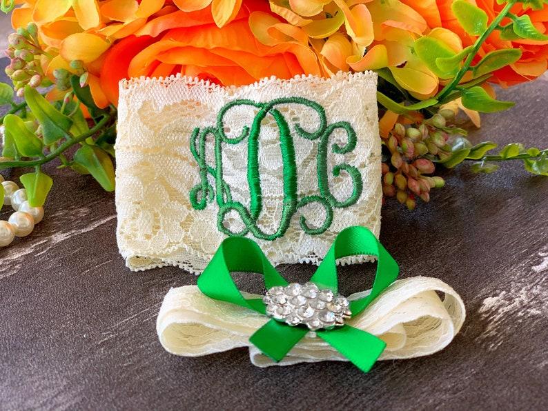 Personalized Wedding Garters Green Garter Brides Non Slip Lace image 0