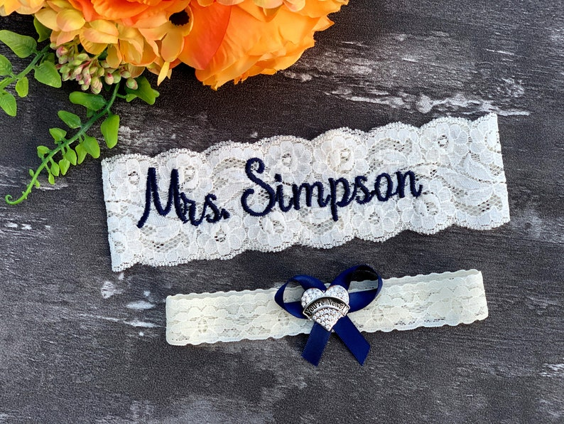 Personalized Wedding Garters Custom Something Blue Garter Non image 0