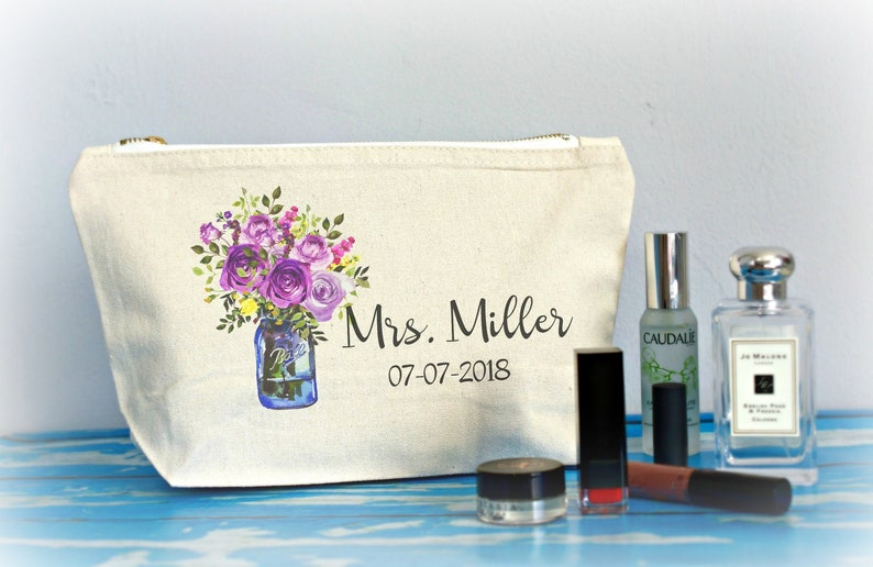 Bridal Shower Gift Bride To Be Personalized Travel Makeup Bag image 0