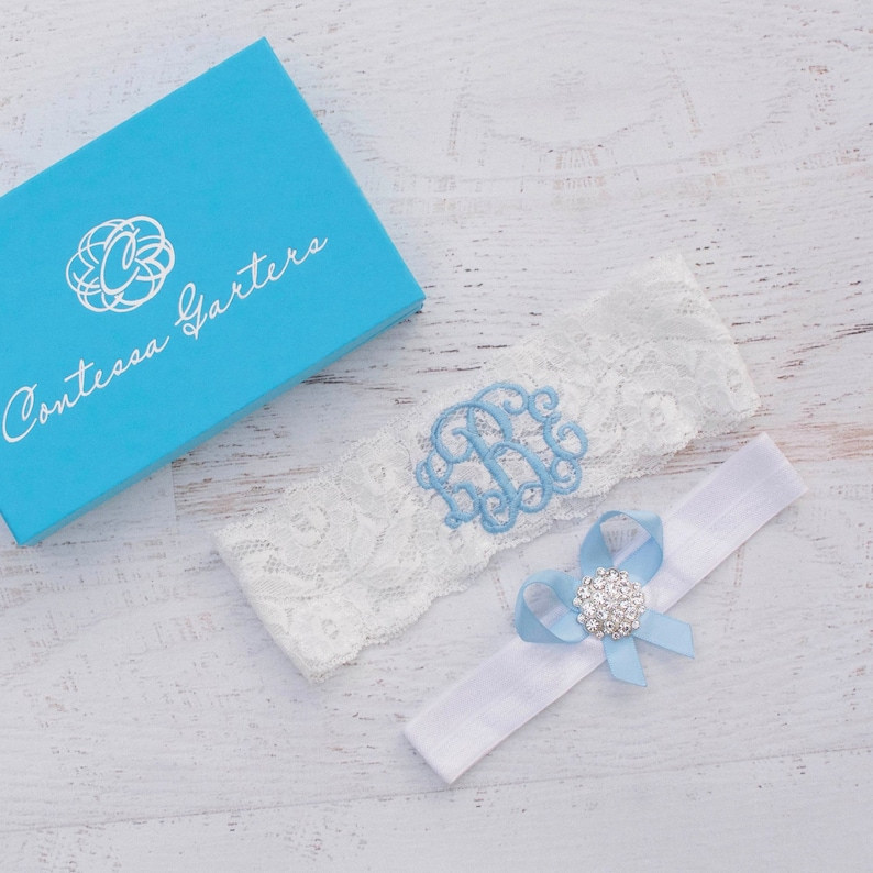 Blue Wedding Garter Non Slip Lace Bridal Monogrammed image 0