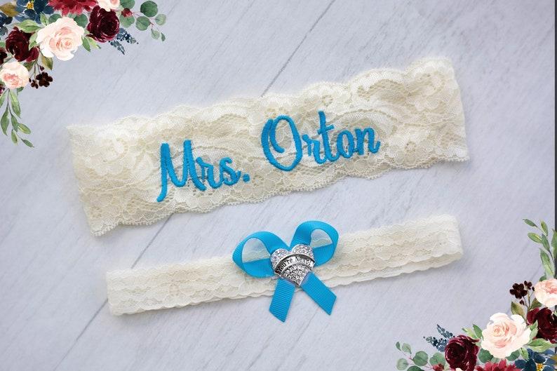 Blue Wedding Garter Belt Personalized Malibu Something Blue image 0