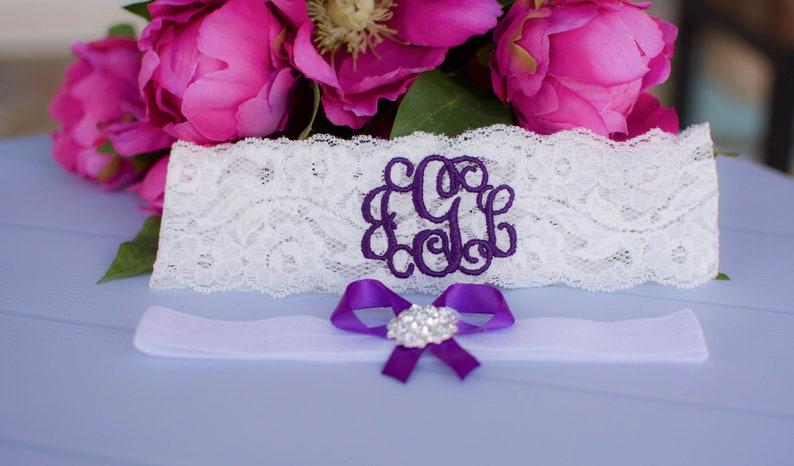 Personalized Garter Wedding Purple Garters for Brides Plus image 0
