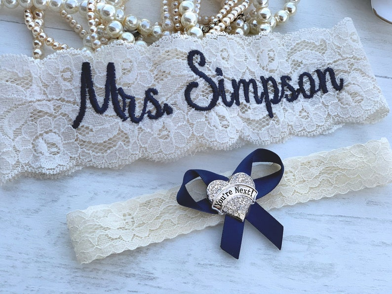 Personalized Wedding Garters Brides Something Blue Garter Non image 0
