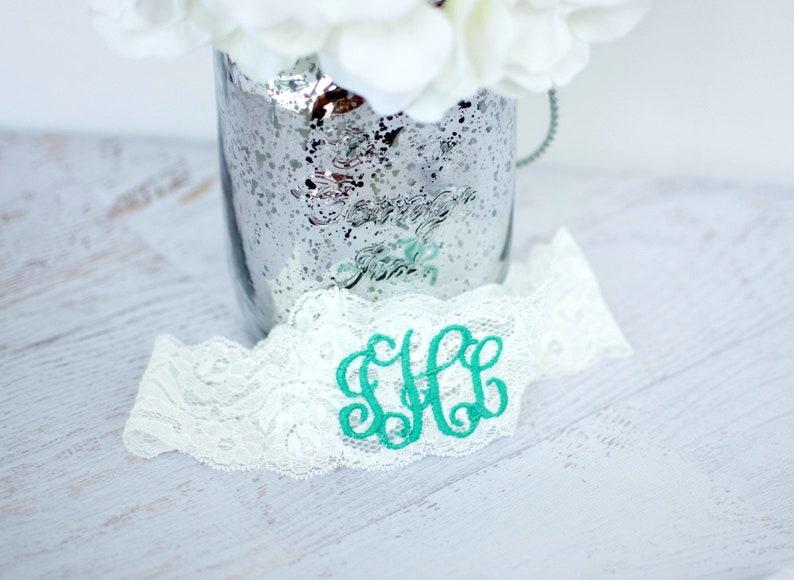 Personalized Garter Tiffany Bride Aqua Blue Non Slip Lace image 0