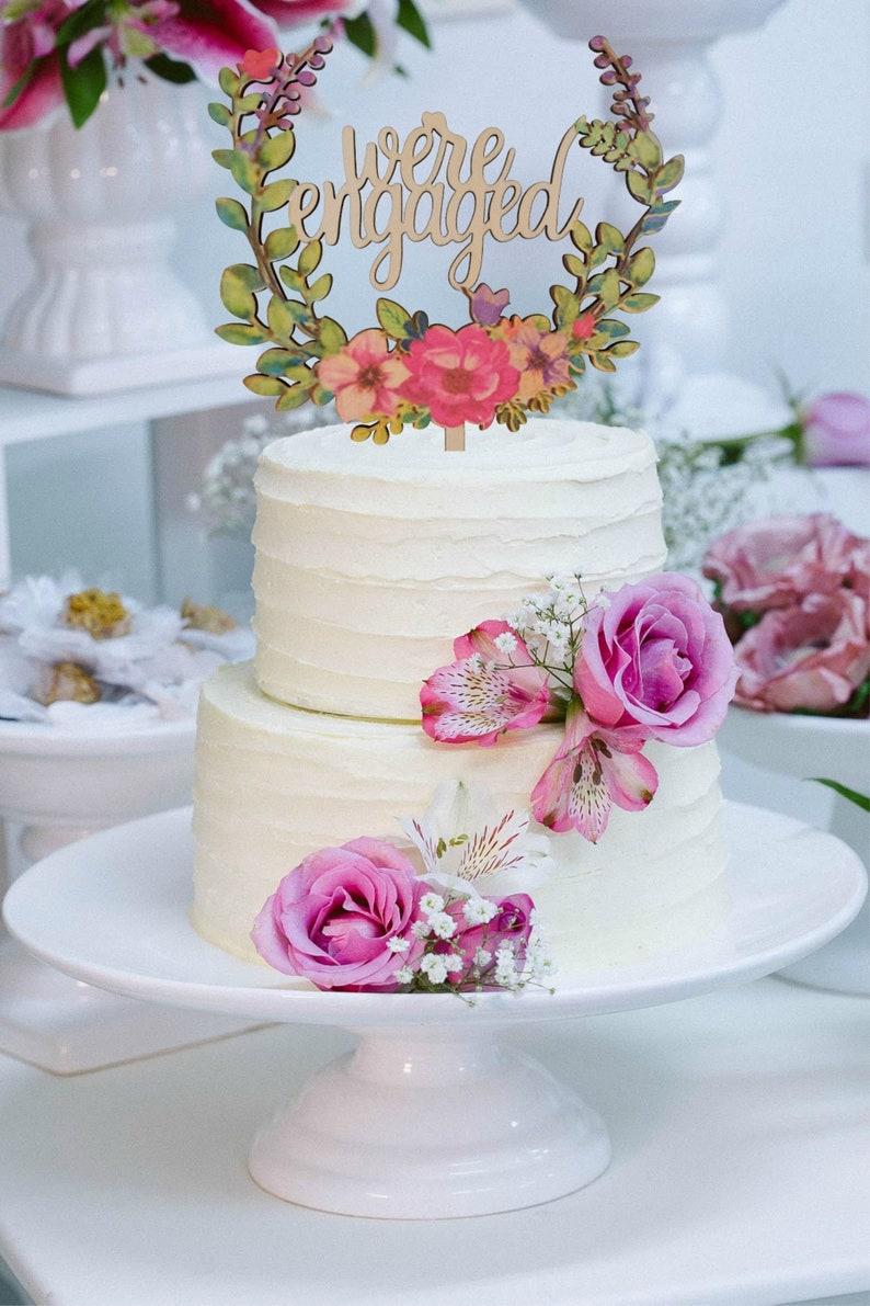 Engagement Cake Topper Decoration Engaged Party image 0