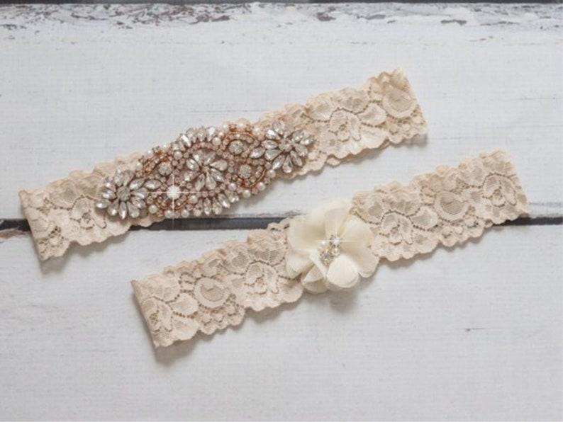 Rose Gold Garter Ivory Non Slip Lace Vintage Wedding Bridal image 0