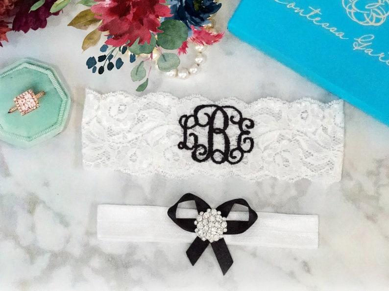 Black Wedding Garter Personalized Bridal Garters Monogrammed image 0