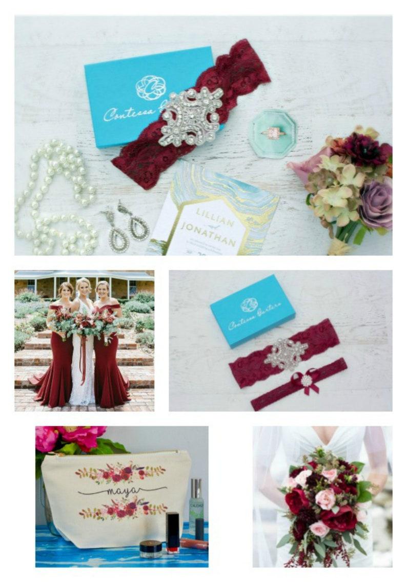 Burgundy Wedding Garter Non Slip Grip Lace Garters for Bride image 0