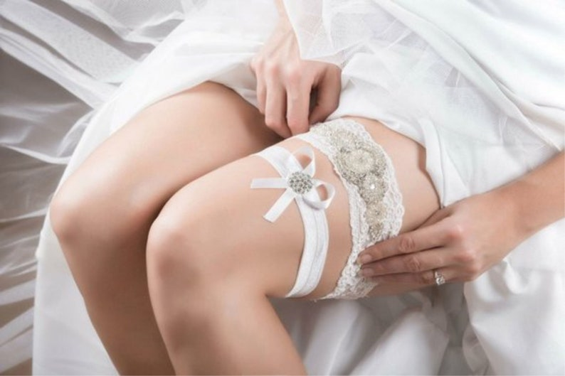 Wedding Garter Crystals Non Slip Ivory White Lace Bridal image 0