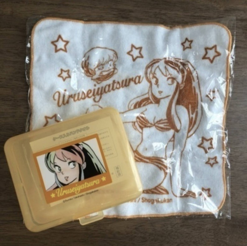 Urusei Yatsura Towel with Plastic Case Set Lum Kawaii Japan Anime LAMU Those Obnoxious Aliens Manga Rumiko Takahashi