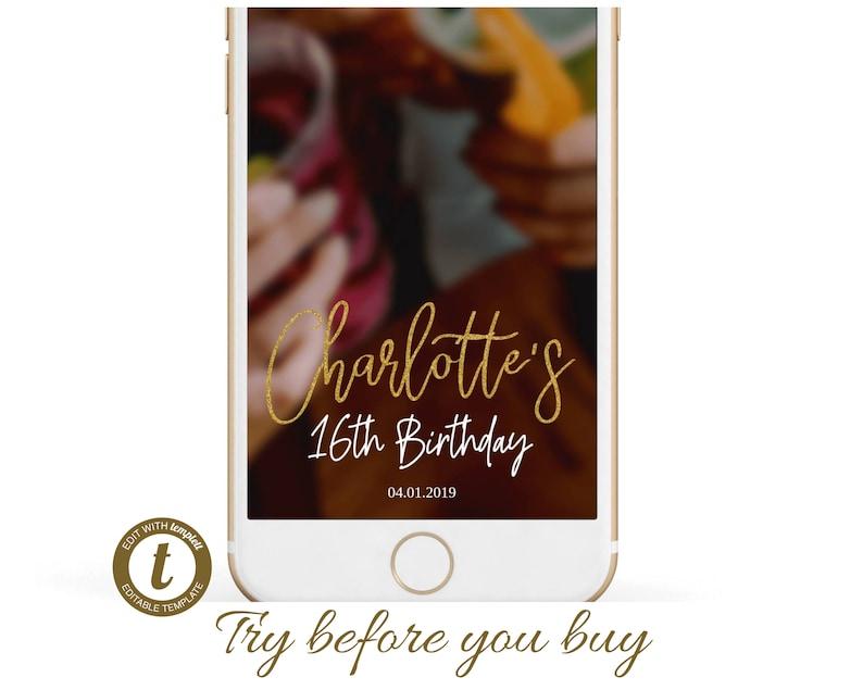 015 Snapchat Geofilter Birthday Birthday Snapchat Filter gold gold glitter filter birthday geofilter