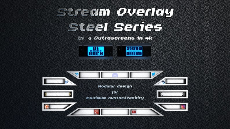 Stream Overlay Pack Steel Series for Twitch / Youtube / Mixer