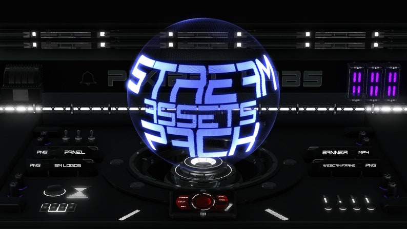 Stream Overlay Asset Pack Black Sci-Fi // For Youtube, Twitch and Mixer  Streaming