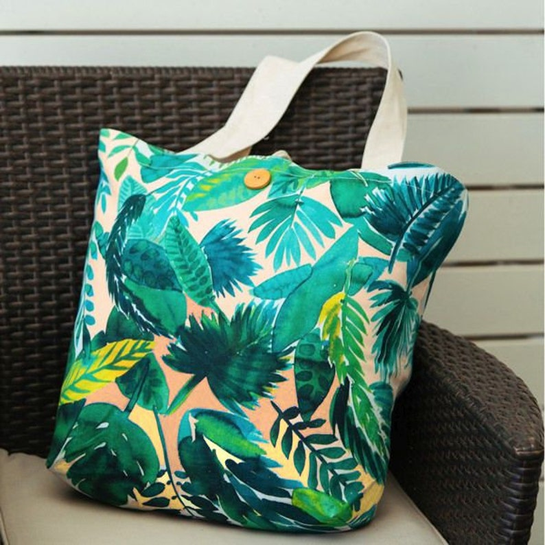 Jungle Leaf Totebag with artwork by Amy Sia