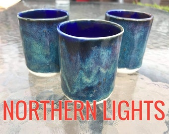 Modern Handmade Porcelain Double Espresso/Cortado cups(90ml) Espresso Coffee cups and Jugs, Various Glazes Tie in with our 250ml Coffee Cups