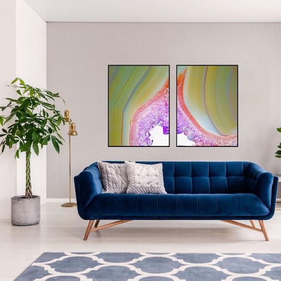 Agate Wall Art Set of 2 Prints, Amethyst Agate Decor, Digital Download, Modern Art, Geode Wall Art, Geode Poster, Geode Quartz Print.