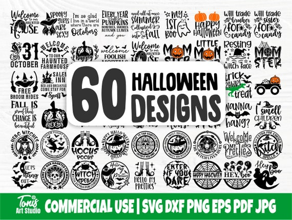 Halloween Bundle SVG Cut Files, Round Sign Svg Png