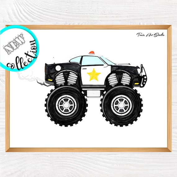 Police Monster Truck Print, Monster Truck Art, Transportation Wall Art, Truck Prints, Police Theme, Birthday Printable, Big Boy Room Decor