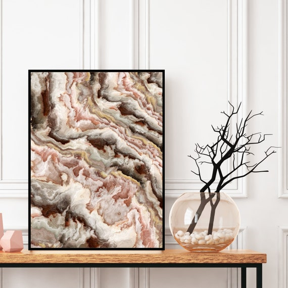 Agate Wall Art Print, Pink Grey Marble Decor, Digital Download, Elegant Modern Art, Onyx Photography Wall Art, Geode Poster, Marble Print.