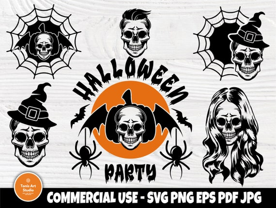 Halloween SVG Bundle, Skulls SVG, Woman Skull Svg