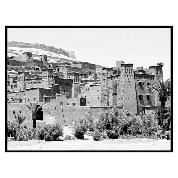 Moroccan decor Black and White, Ancient Clay City Print, Boho Decor, Digital Download,Architecture print, Large wall art, Travel photography