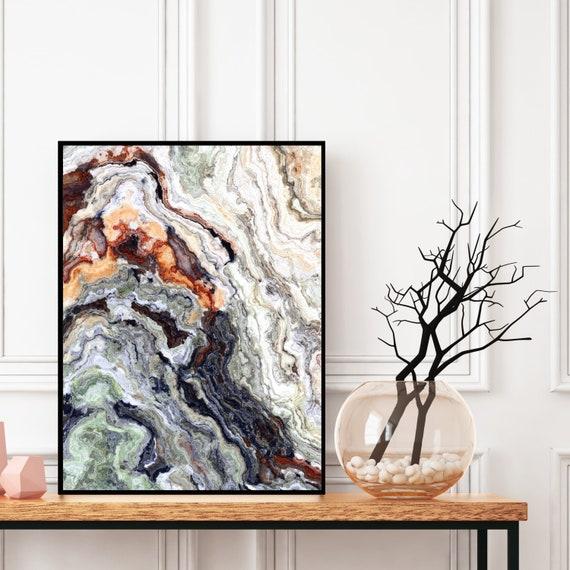Agate Wall Art Print, Grey Blue and Brown Marble Decor, Digital Download, Elegant Modern Art, Onyx Wall Art, Geode Poster, Marble Print.