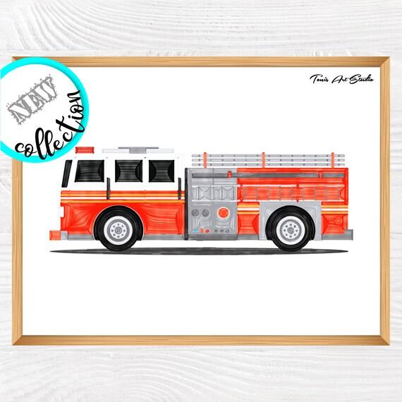 Firetruck watercolor | Firetruck wall decor | Printable art | Fire truck wall art | Transportation | Kid bedroom art | Classroom decor