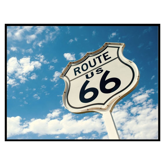 Retro Route 66 Highway Sign Print, Sky and Clouds, Digital Download, Vintage Wall Art, Retro Decor, Boho Wall Art, Travel Photography Poster