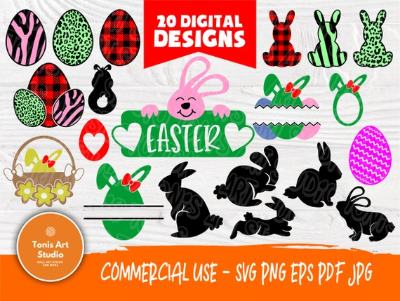 Easter SVG Cut Files | Rabbit Svg | Egg Svg | Rabbit Silhouette | Egg Silhouette | Easter Clipart | Easter Vector | Cricut, Silhouette Files