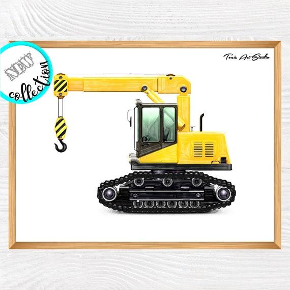 Crane Truck Print, Construction Wall Decor, Crane Printable, Toddler Decor, Tractor Crane, Transportation Wall Art, Vehicle Print