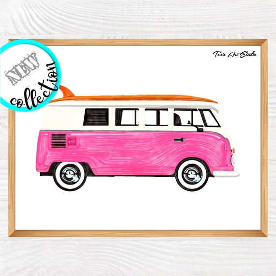 Van Print   Classic Car Art   Printable Vintage Car Print decor   Kids Room Wall art   Surfboard Art   Transportation Party   Classroom art