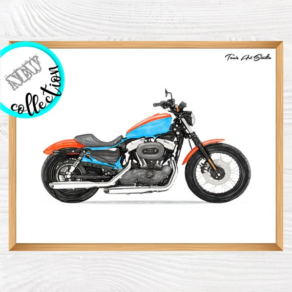 Motorcycle watercolor | Kid decor | Motorbike printable | Transportation | Motorcycle wall art | Motorcycle print | Boys prints | Instant