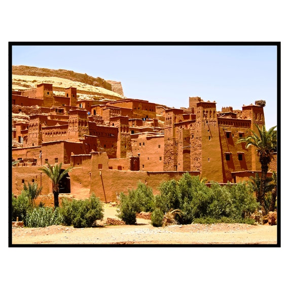 Moroccan decor Print, Ancient Clay City Print, Digital Download, Bohemian decor, Architecture print, Large wall art, Travel photography.