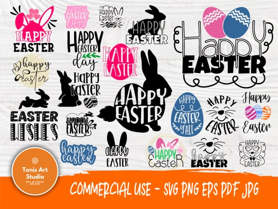 Happy Easter SVG, Easter Signs, Easter Eggs, Easter Bunny Svg, Bunny Ears Svg, Svg Files for Cricut, Silhouette Files, Svg Cut Files
