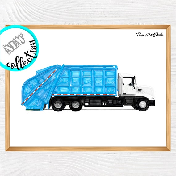 Garbage truck wall decor | Garbage truck print | Truck birthday party | Kid Room decor | Printable art | Classroom Wall Art | Boy room art