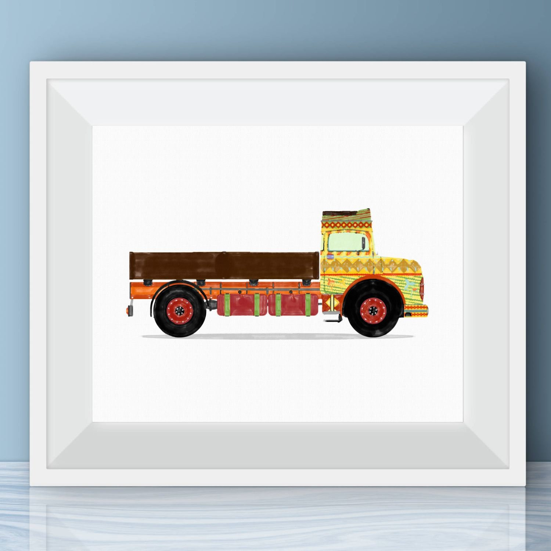 retro indian truck boys wall art vintage truck watercolor | etsy