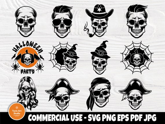 Skull SVG Bundle, Pirate Skull, Halloween Skulls
