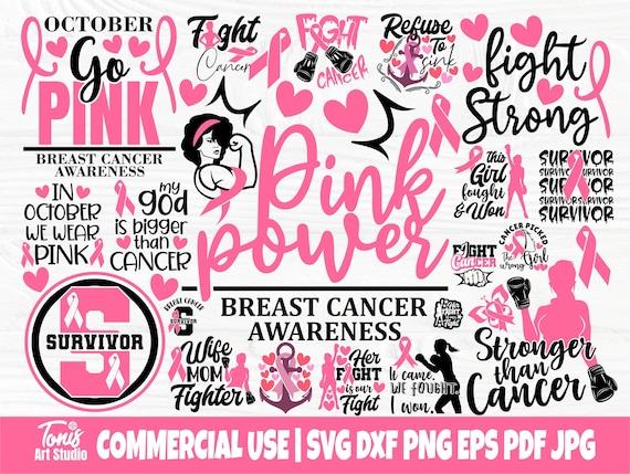 Breast Cancer Bundle SVG, Cancer Quotes Svg, Png