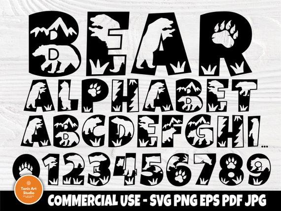 Bear Font SVG, Alphabet Clipart, Monogram Letters