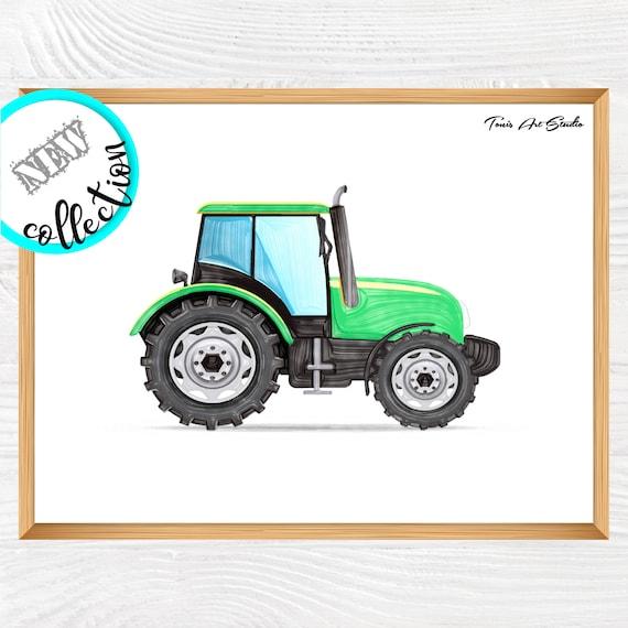 Tractor wall decor   Tractor watercolor   Green vehicles art   Transportation print   Tractor wall art   Nursery decor   Kids decor