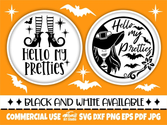Hello My Pretties SVG, Halloween Round Sign Design