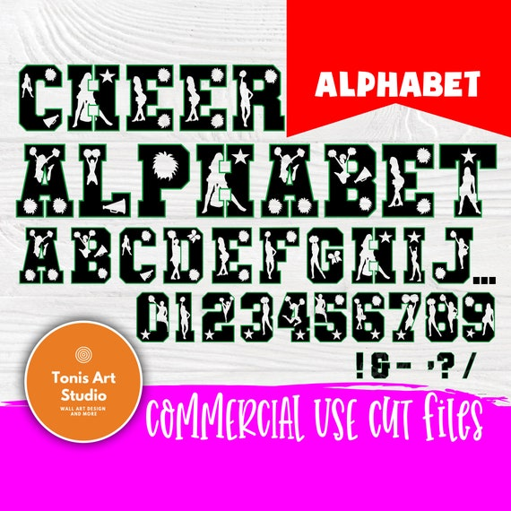 Cheer font SVG, Cheer alphabet cut files