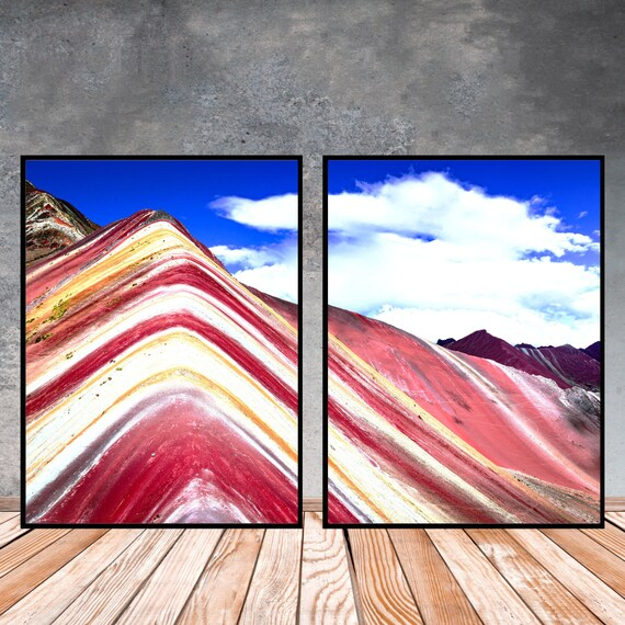 Rainbow Mountain Peru Set of 2 Prints, Digital Download, Travel Photography, Colourful Wall Art, Boho Decor, Landscape Print, Home Decor.