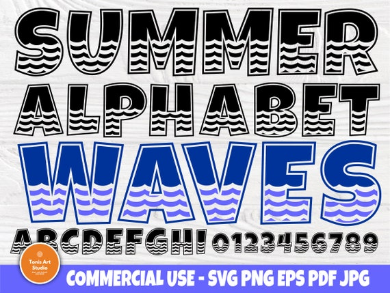 Alphabet SVG, Summer Font, Wave Svg, Letters Svg