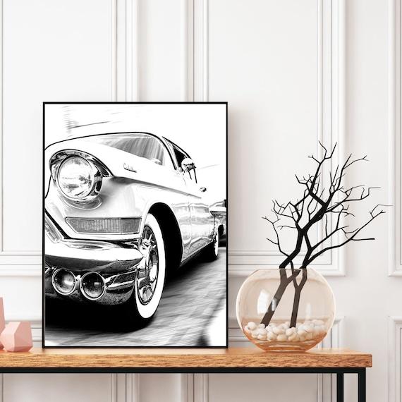 Retro Car Cadillac Print, Black and White, Cadillac Photography, Automotive, Bedroom Wall Art, Classic Retro Car, Living Room Prints, Car