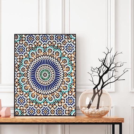 Moroccan Tile Wall Art, Moroccan Pattern Print, Boho Wall Art, Bohemian Decor, Large wall art, Travel photography, Digital Download.